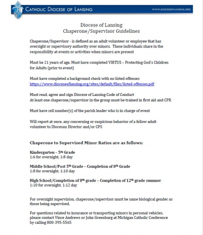 Diocese of Lansing Chaperone and Supervisor Guidelines